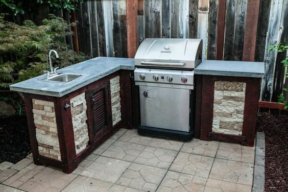patio outdoor l grill plans kitchen shaped outside layout build your own