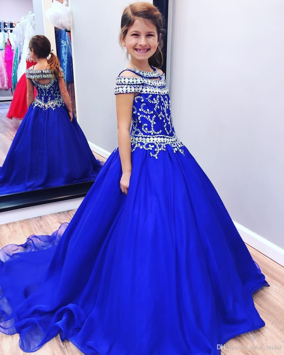 9d2cab3f4e2 Beauty Blue Green White Applique Beads Flower Girl Dresses Princess Dresses  Girl s Pageant Dresses Custom Made Size 2-6 8 10 12 14 KF314033 2018 from  ...