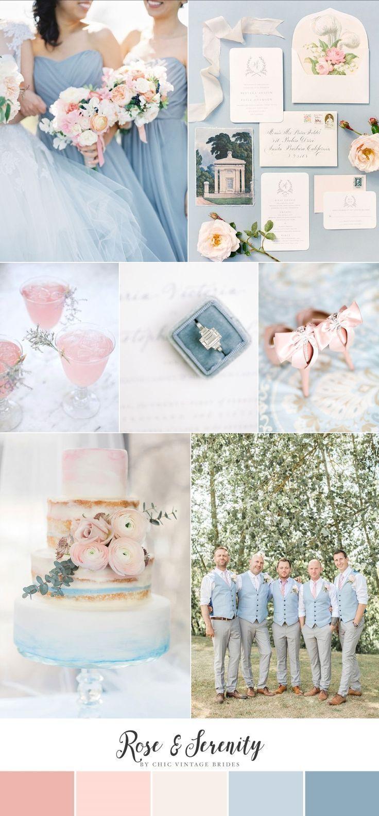 Pastel blue wedding decor  Rose u Serenity  Romantic Wedding Inspiration in Pantoneus Colours