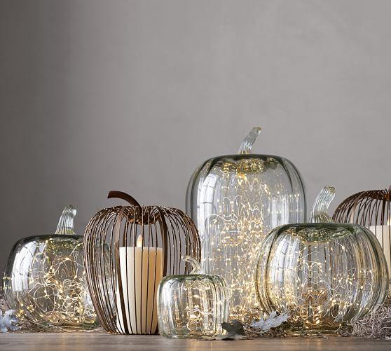 Recycled Glass Pumpkin Cloche Glass Pumpkins Decor Halloween