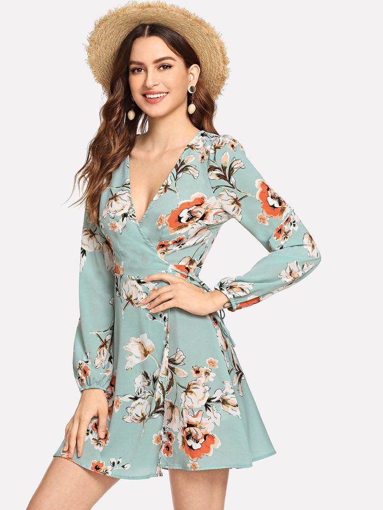 595ea8fe35 Short   Sassy Sea Foam Floral Wrap Dress