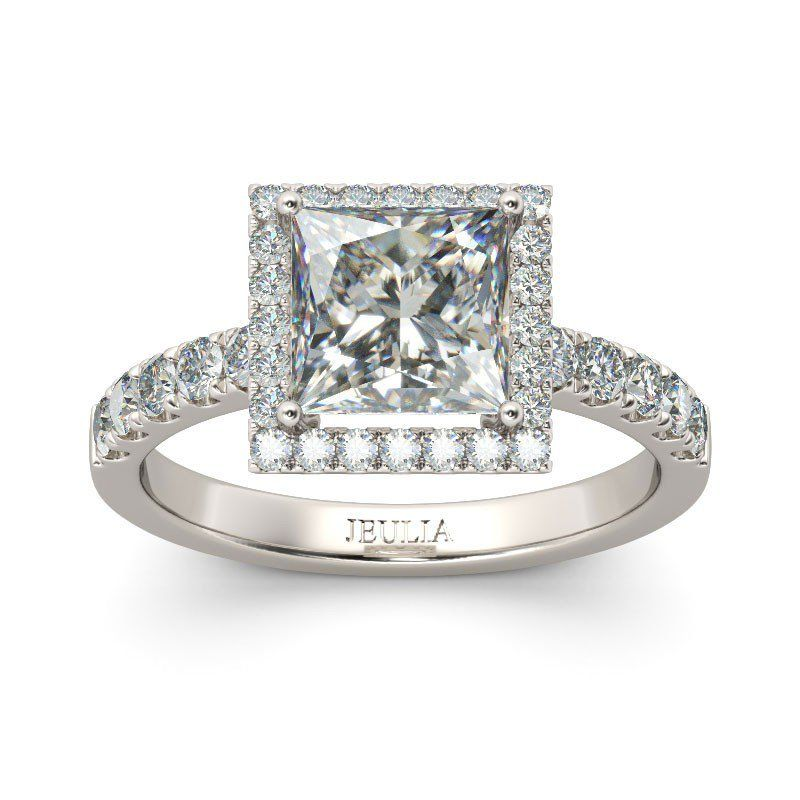 Exquisite Halo Princess Cut Created White Sapphire Rhodium Plating Sterling Silver Women's Ring