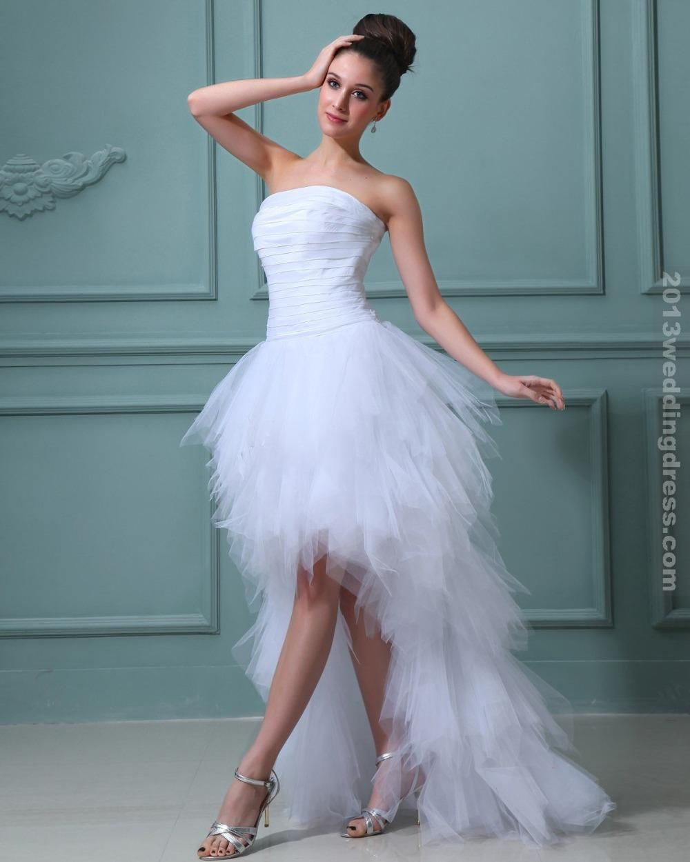 High low wedding dress short in front and long in back strapless