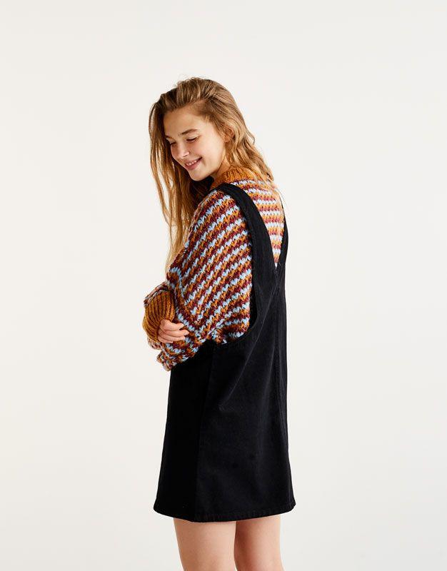 Black Denim Pinafore Dress Dungarees Jumpsuits Clothing