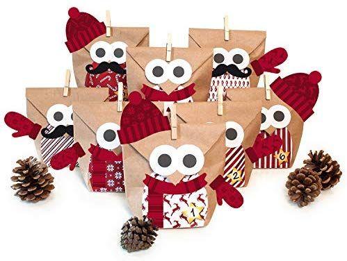 8x Diy Kerstdecoratie : Pajoma diy adventskalender bastelset christmas owl red mit extras