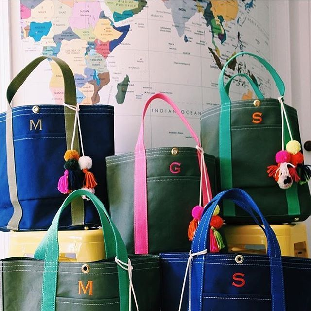 I want one of each... #monogram #totes #letsgo #repost @corroonbags #accessories #travel #canvas #pompom #journey