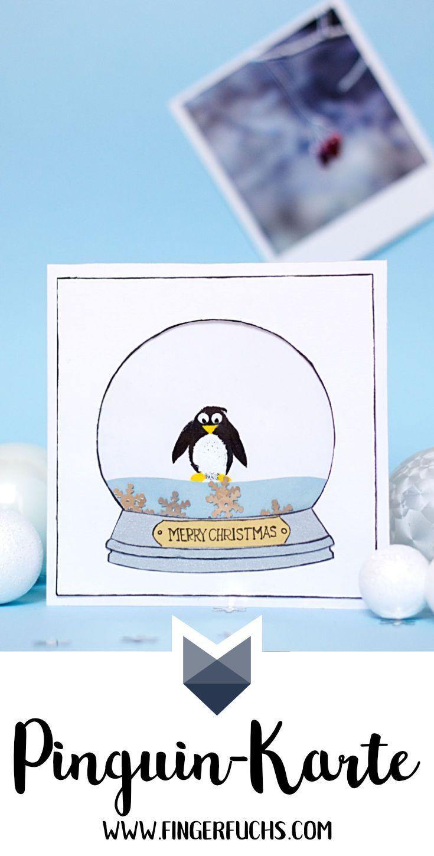weihnachtliche karte basteln mit fingerabdruck