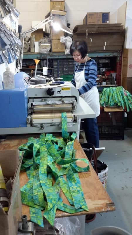 Ironing the ties. #coolingties #coolingpads #handmade #madeincanada