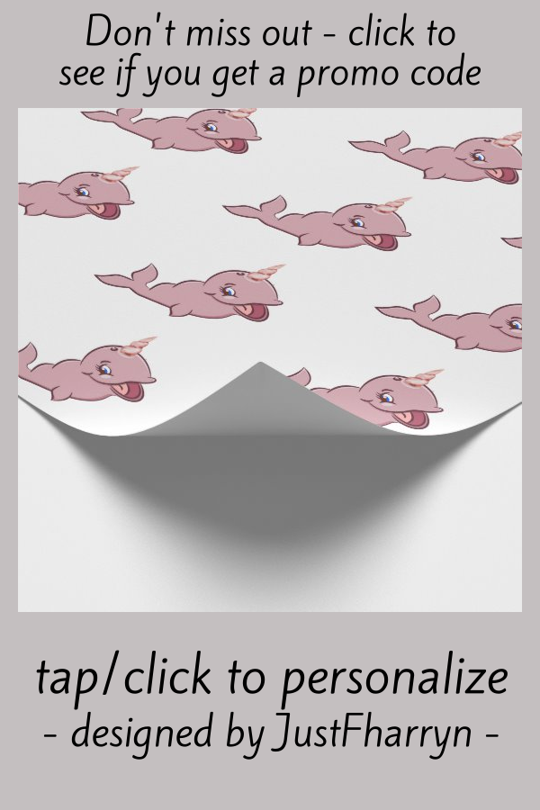 Narwhal Pink | Girly Kawaii Chibi Cartoon Party Wrapping Paper #baby #chibi #narwhal #cute #kawaii #WrappingPaper