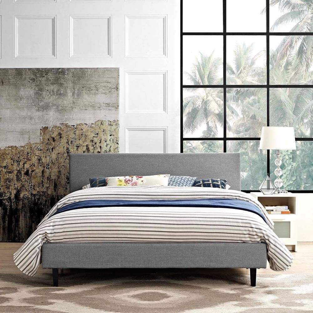Modway Anya Full Fabric Bed Grey Bed Frame Queen Bed Frame Bed