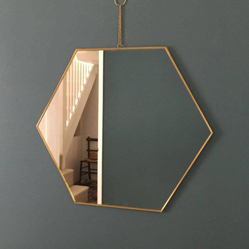 Hexagonal Brass Mirror Brass Mirror Mirrors With Chains