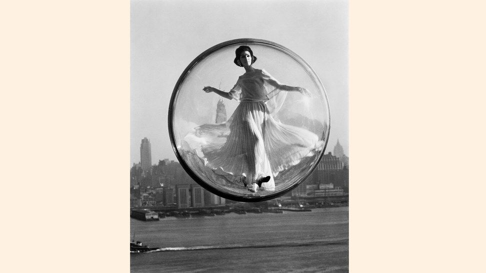 Lot 16 Melvin Sokolsky, BUBBLE OVER NEW YORK, 1963 42 x 32 in. archival pigment print, signed on verso, edition 14 of 25, framed