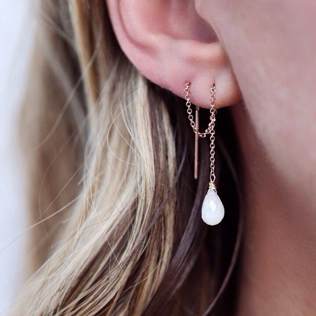 Thread Through Earrings In Rosegold Filled With Moonstone Gemstones