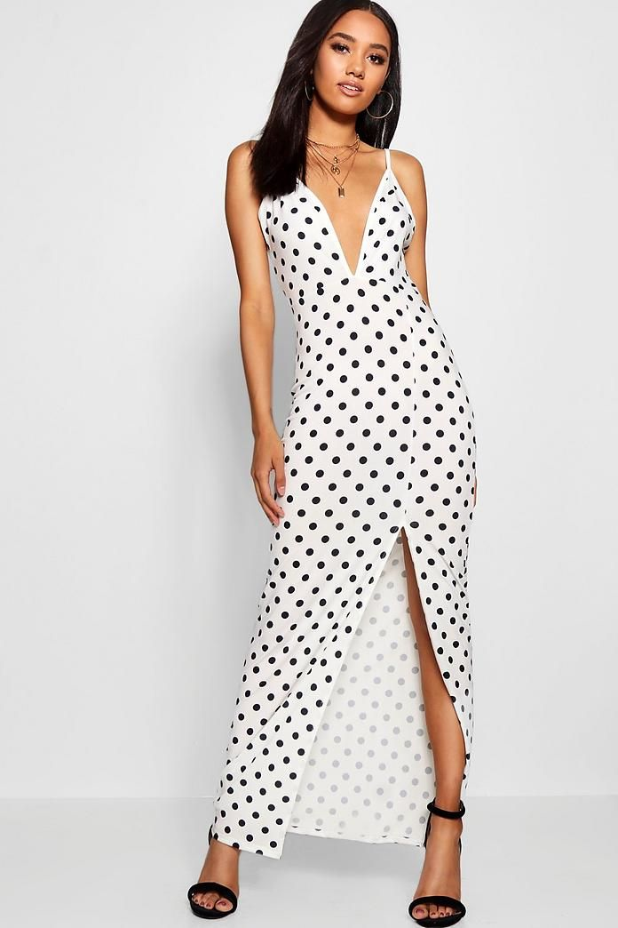 2baba81d2791a Petite Polka Dot Plunge Maxi Dress | Women's Fashion | Dresses, Maxi ...
