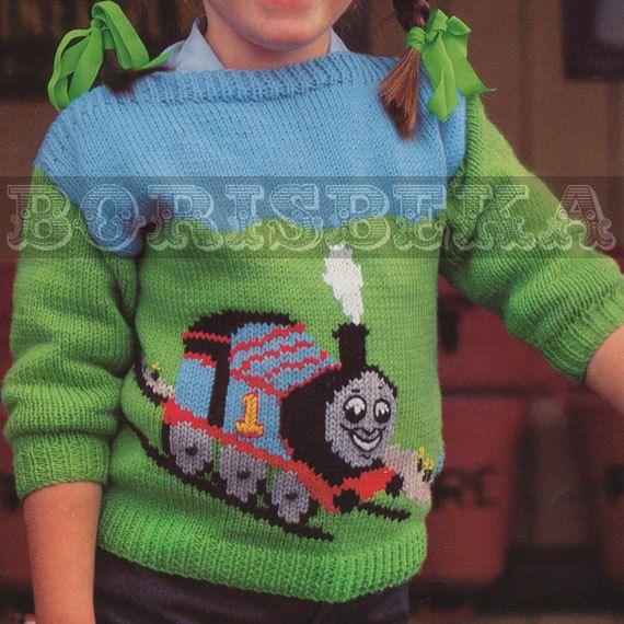 Vintage Childrens Thomas The Tank Engine Jumper Knitting Pattern