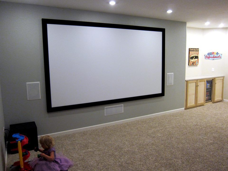 Basement Home Theater Ideas 135 Fixed Frame Screen Pioneer In Wall Speakers View The Before And Af Home Theater Setup In Wall Speakers Home Theater Seating
