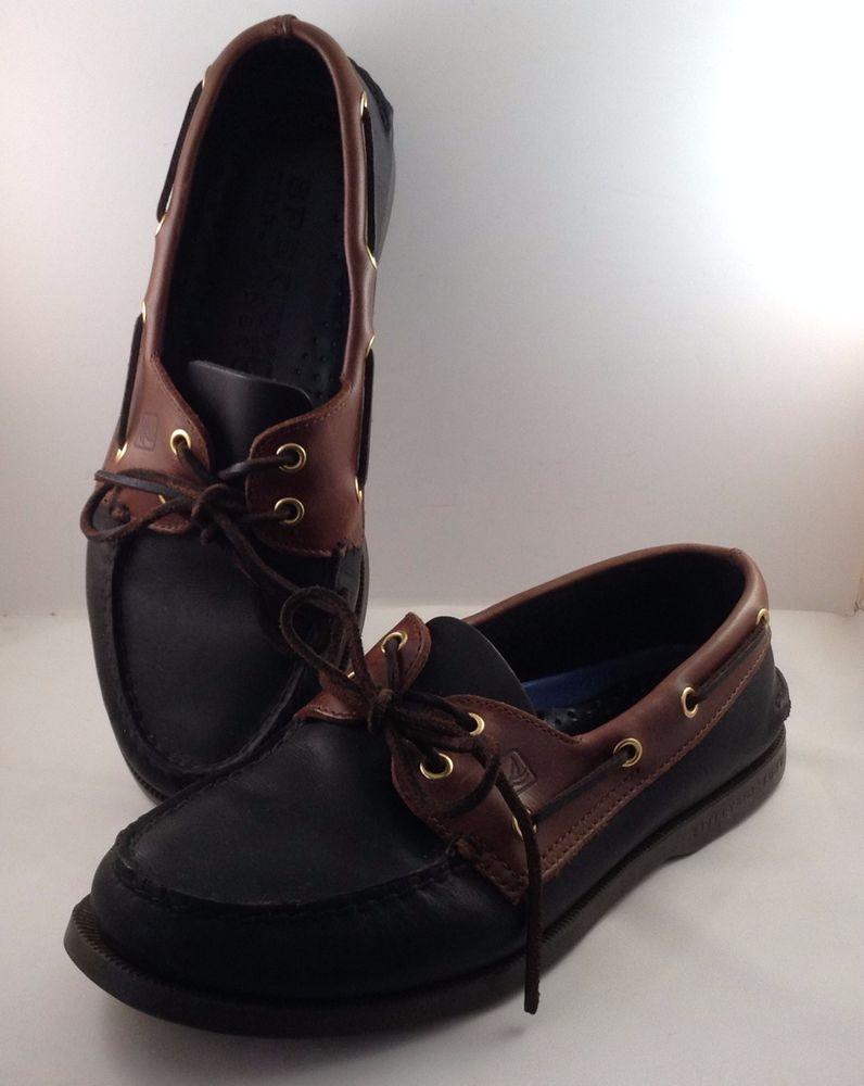 Sperry Top-Sider Men's Authentic Original 2 Eye Boat Shoe Black Amaretto 9  XW