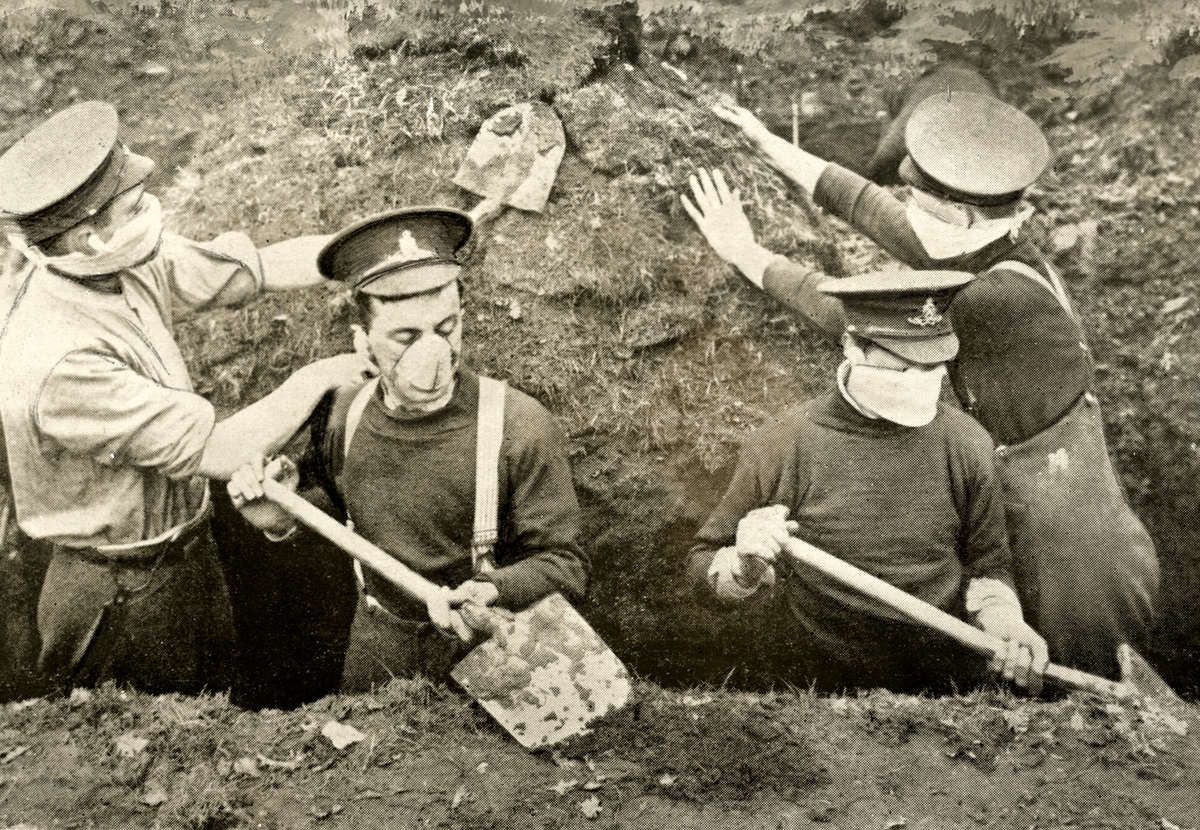 Eerste Wereldoorlog. Engelse loopgraaf, Westelijk front,  strijd bij de rivier de IJzer, België, [gepubliceerd op de voorpagina van Het Leve...