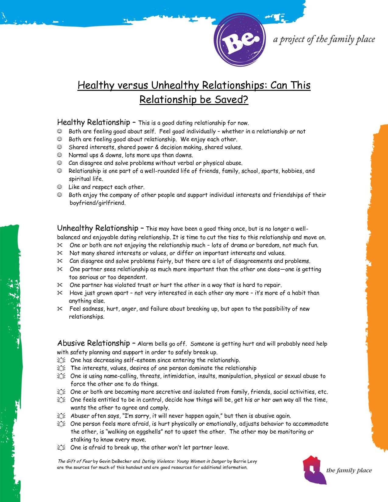 Healthy Vs Unhealthy Relationships