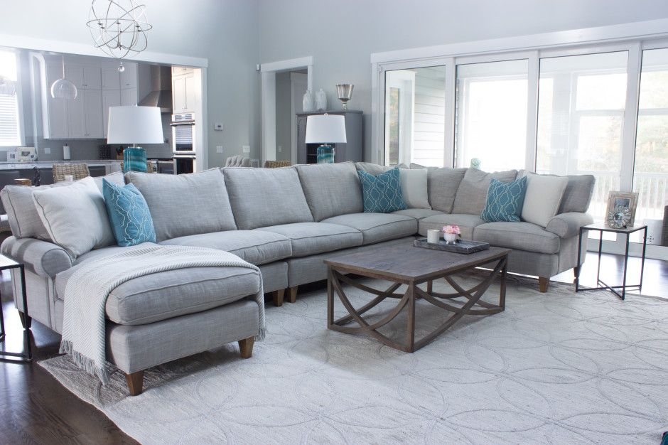 Eliza Grey Interiors Large Gray Sectional Jute Rug Living