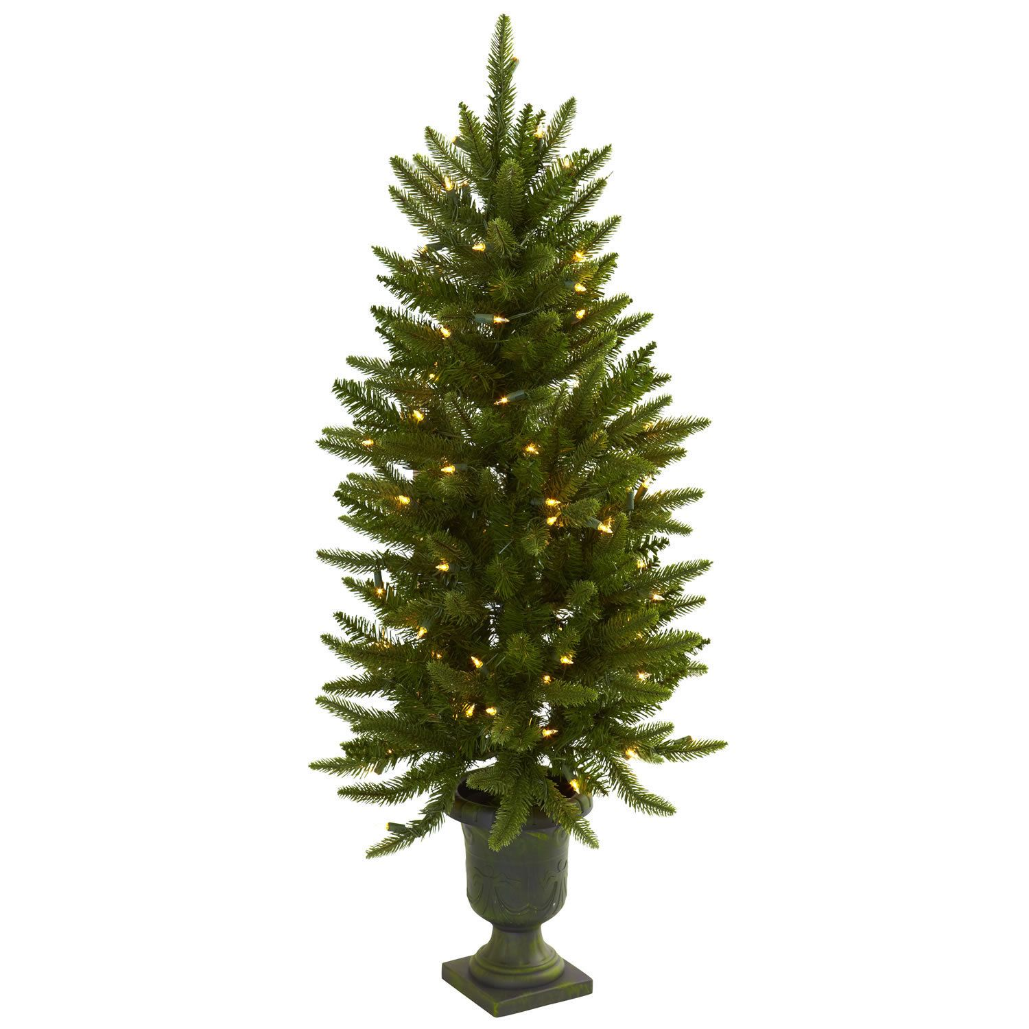 Sure to brighten holiday spirits, here's a piece that's destined to become a favorite holiday decoration. This faux Christmas tree stands 4 feet high in its decorative urn and comes with 100 clear lights that stay on if one burns out.