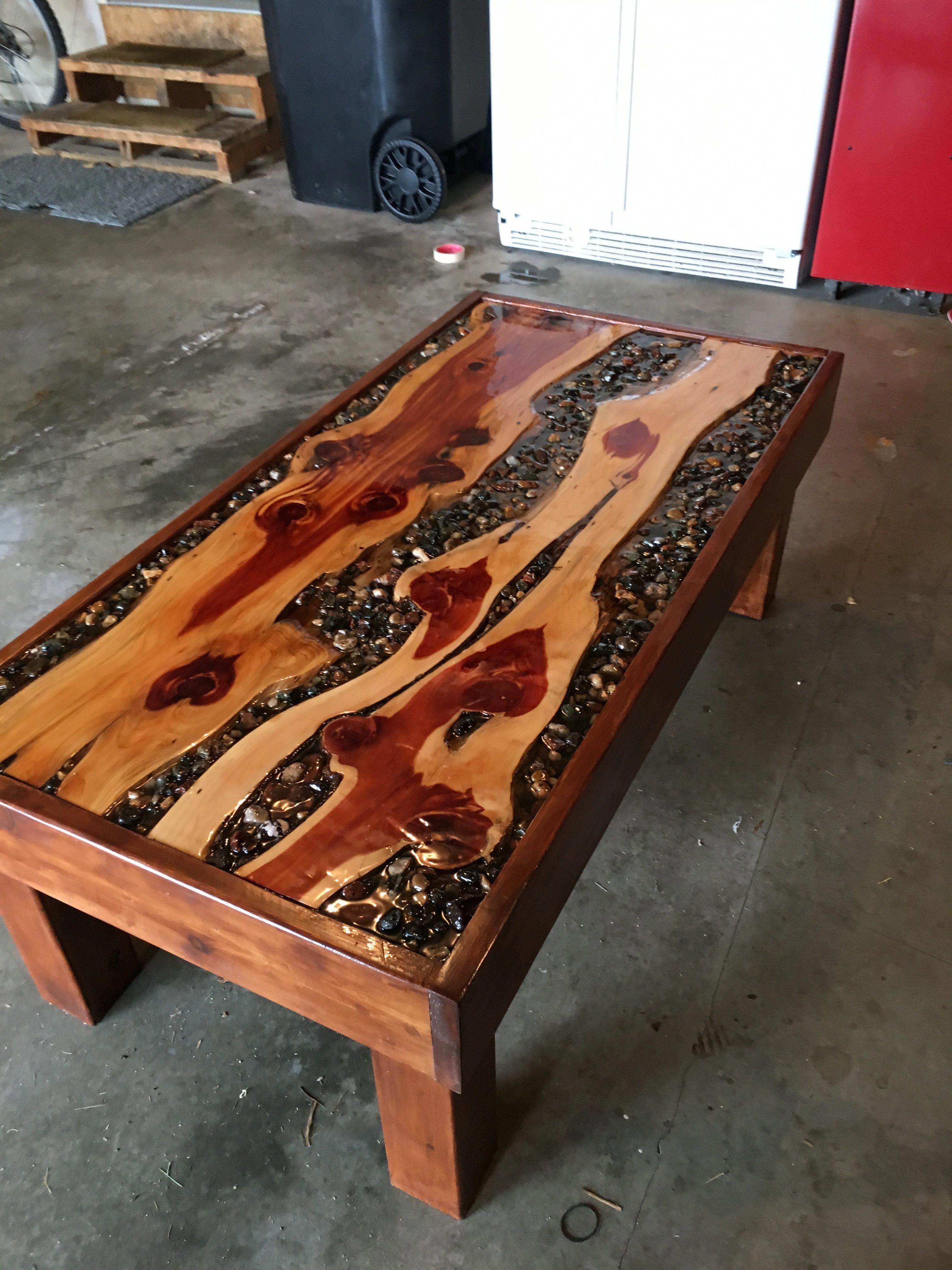 Custom Cedar Wood Coffee Table With River Rocks And Epoxy Diyresinwoodtables Cedar Wood Projects Wood Resin Table Coffee Table Wood [ 4032 x 3024 Pixel ]