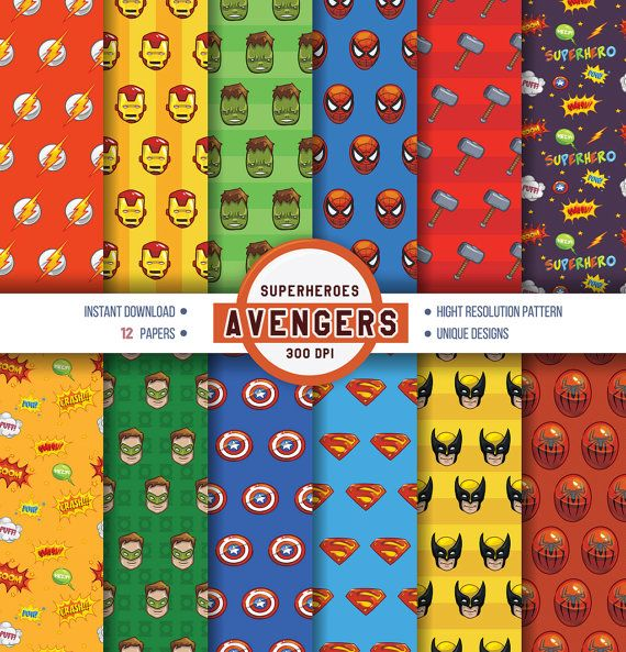 avengers superheroes digital scrapbook paper instant download