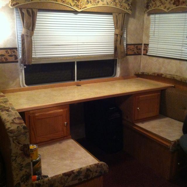 Rv Table Remodel To Computer Desk Rv Stuff Diy Rv Camper Storage Remodeled Campers