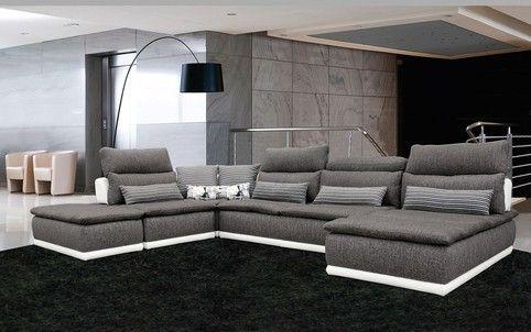 David Ferrari Panorama Italian Modern Grey Fabric And White Leather Sectional Sofa By Vig Furniture Canape Design Italien Canape Design Canape Modulable