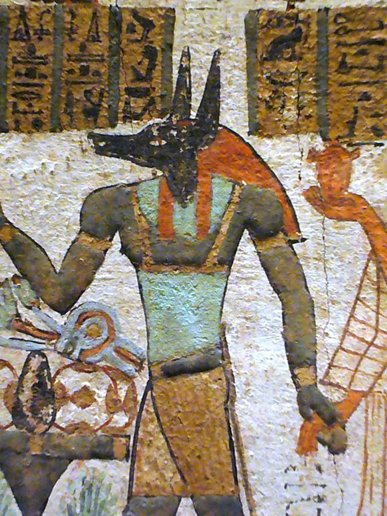 Ancient Egyptian Wall Painting Depicting Anubis (the Original God Of The  Dead Osiris). Metropolitan Museum Of Art NYC