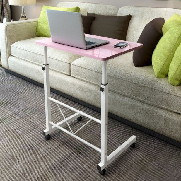 Portble Modern Simple Laptop Desk With Pink Wooden Desk Deck And White  Metal Body Feat Black Wheel Ornament Complete With Portable Sliding Body