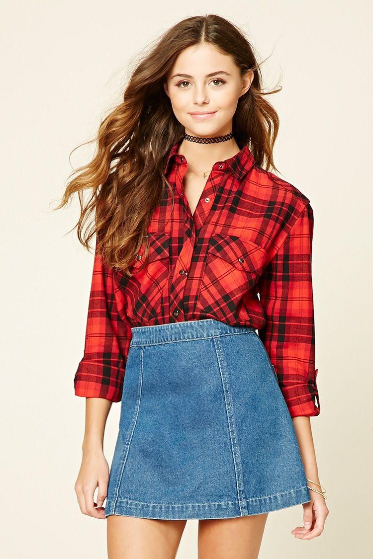 Red flannel around waist  Tartan Plaid Flannel Shirt  wishlist  Pinterest  Womenus tops