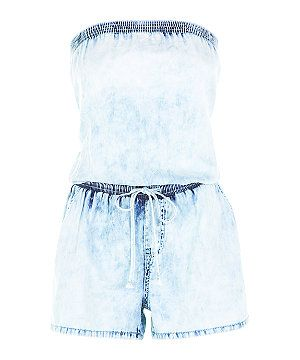 e87813d197b Pale Blue Acid Wash Bandeau Denim Playsuit