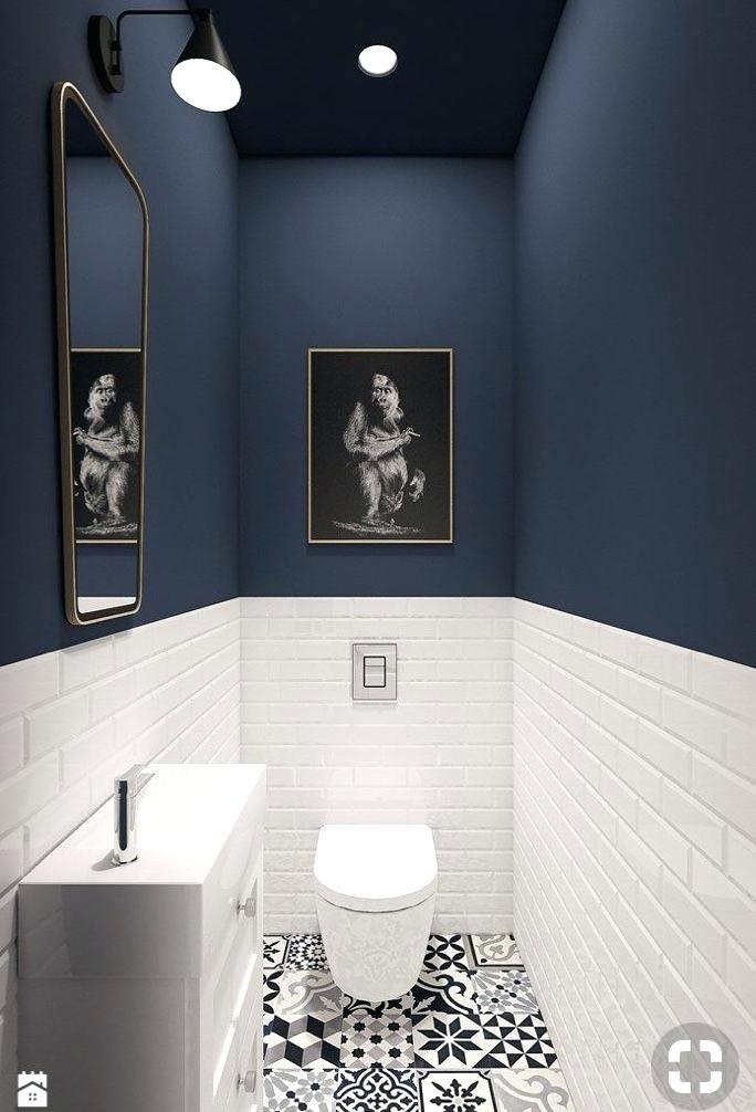 Toilettes Peinture Bleu Idee Deco Wc En 2018 Bathroom Idee Deco Wc Idee Deco Wc Carrelage Metro Deco Toilettes Idee Deco Toilettes Idee Deco Wc
