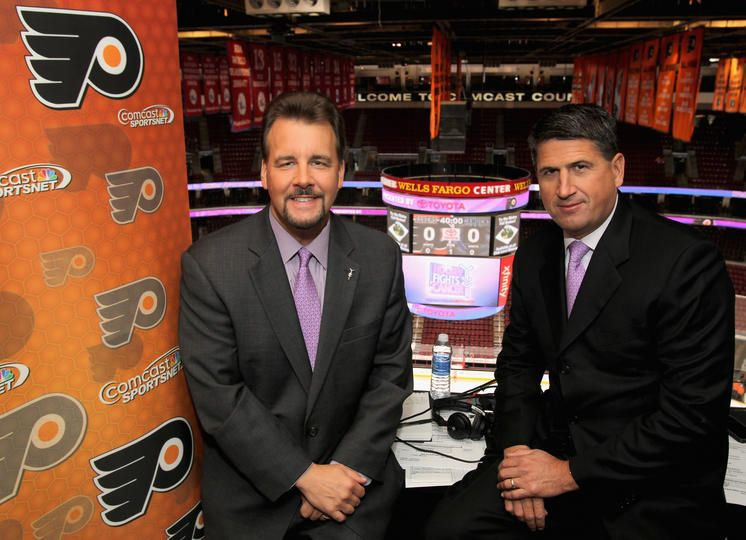 Broadcasters Jim Jackson And Keith Jones Pose For A Photo Prior To The Philadelphia Flyers Hockeyfightscancer Awareness Nig With Images Hockey Fights Jim Jackson Canucks