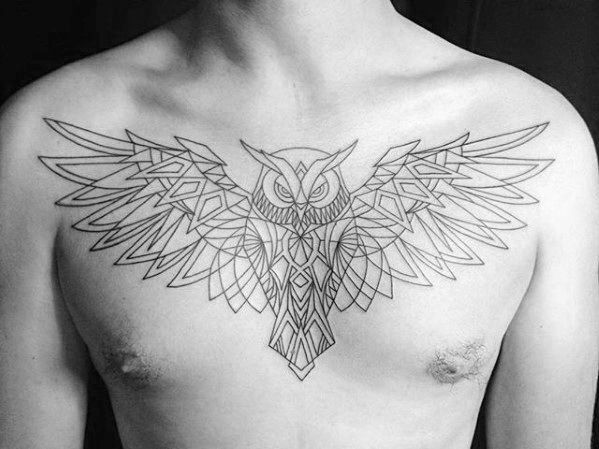 Flying Owl Male Geometric Upper Chest Tattoos Geometric Owl Tattoo Geometric Owl Tattoo Designs Men