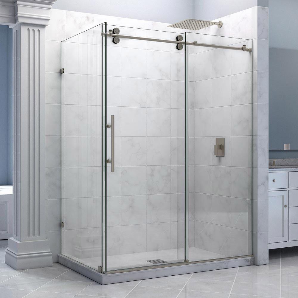 Dreamline enigma 36 x 605 inch fully frameless sliding shower dreamline enigma 36 x 605 inch fully frameless sliding shower enclosure brushed stainless steel planetlyrics Gallery