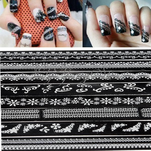 THESE ARE THE ONES Manicure 10 Sheet 3D French Long Lace Decal Nail Art Tip Sticker Flowers Decal