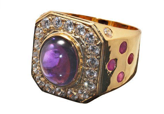 7606ef011478 Amatista obispo anillo especial Rubies y circones las piedras preciosas  genuinas en oro chapado en plata de ley 925