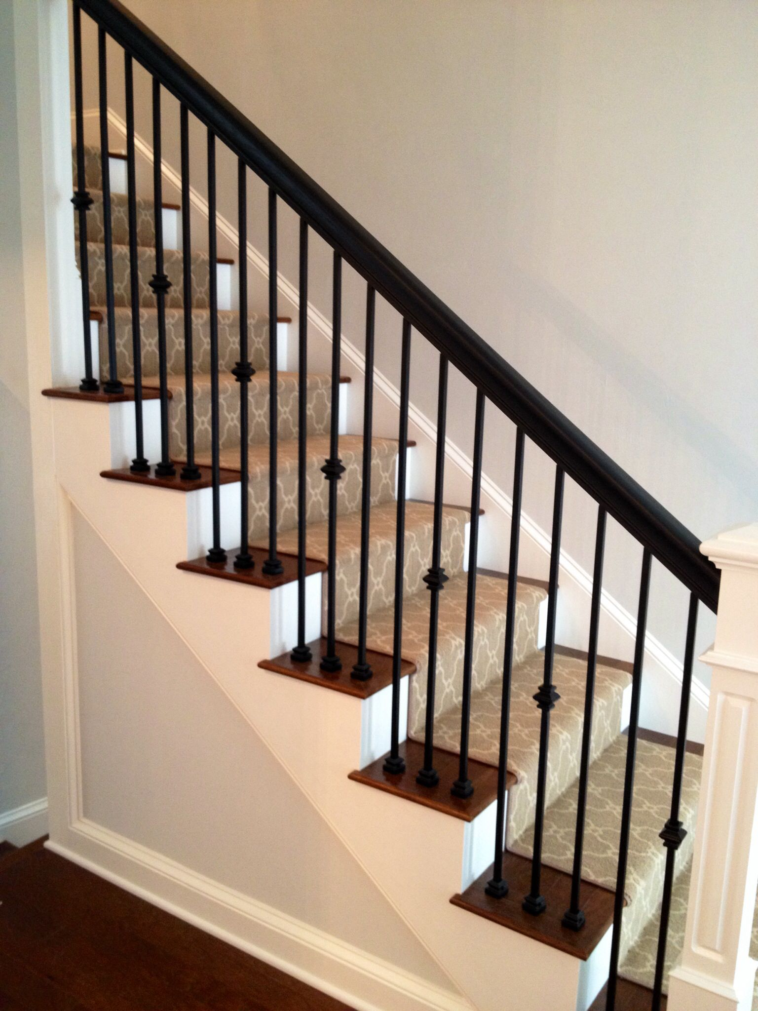 Staircase Iron Spindles Wood Handrail Wood Newel Post   Wood Railing With Metal Spindles   Brazilian Cherry Stair   Newel Post   Stained   Traditional   Metal Stair