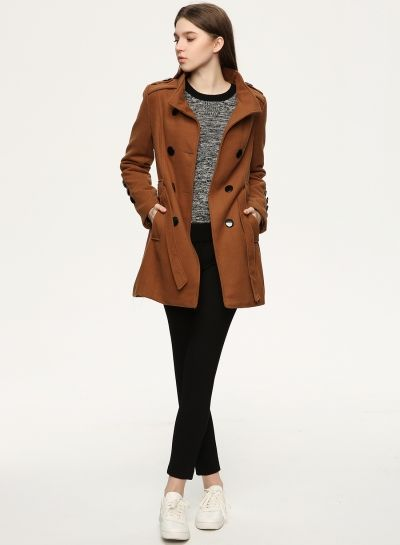 Double Breasted Woolen Belted Trench Coat with Pockets - OASAP.com