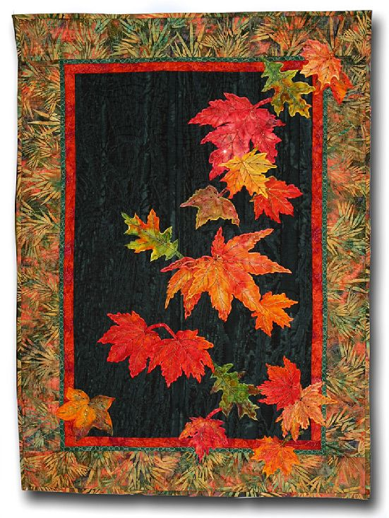 """4/"""" Autumn Fall Leaf Halloween embroidery patch"""