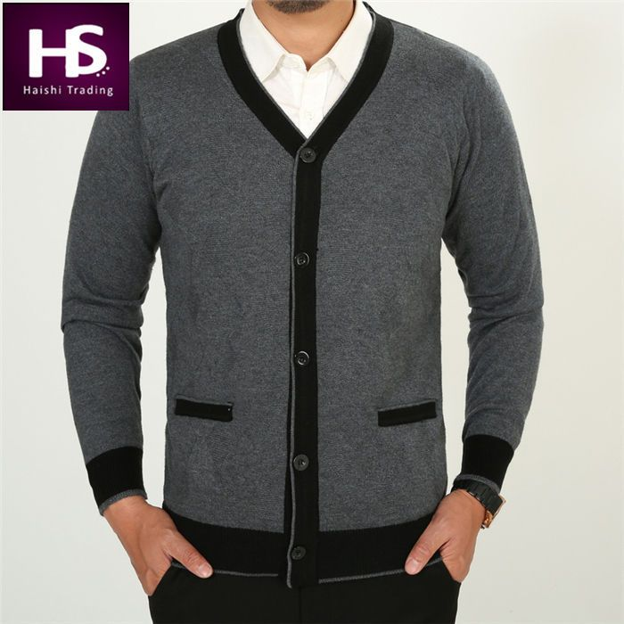 HS Winter Thick Warm V Neck Sweater Men Cashmere Cardigan Men ...