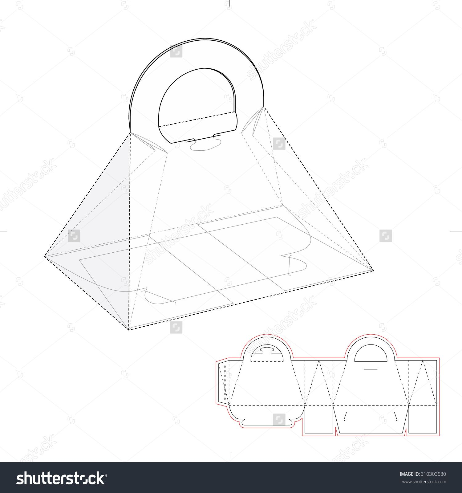 Pyramid Carrying Box With Die Line Template Stock Vector