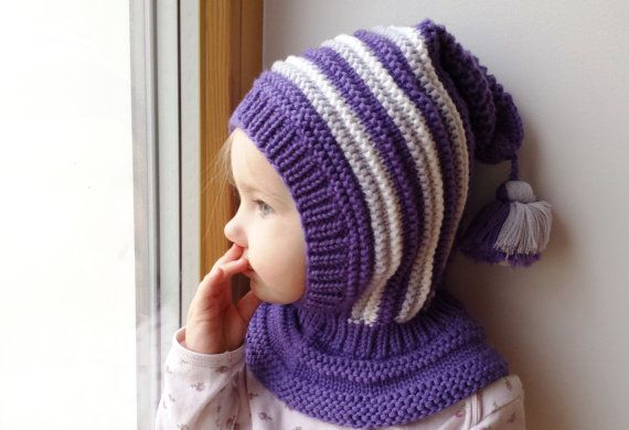 Merino Balaclava, Baby/ Toddler Hoodie hat with Pom Pom Tail, Purple ...