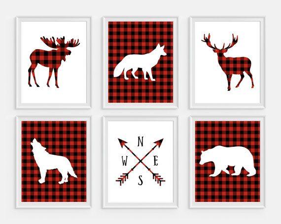 Lumberjack Buffalo Plaid Nursery Wall Art for Boy with Bear and Deer Canvas Printed
