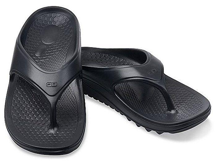 Spenco Men/'s Breeze Slide Sandals Black