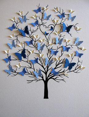 11X14 Family Tree of Butterflies in YOUR Choice of Colors for Each Generation / Personalized with Family Name Beneath Tree / Made to Order -  Passepartout / Passepartout / ungerahmt, wäre dieser Baum 3D Schmetterlinge ein ganz besonderes Geschenk für die Eltern oder Großeltern, die ein Jubiläum oder anderen besonderen Anlass feiern. Schmetterlinge sind vor allem für Ihre Familie in Größen + Farben, jede Generation