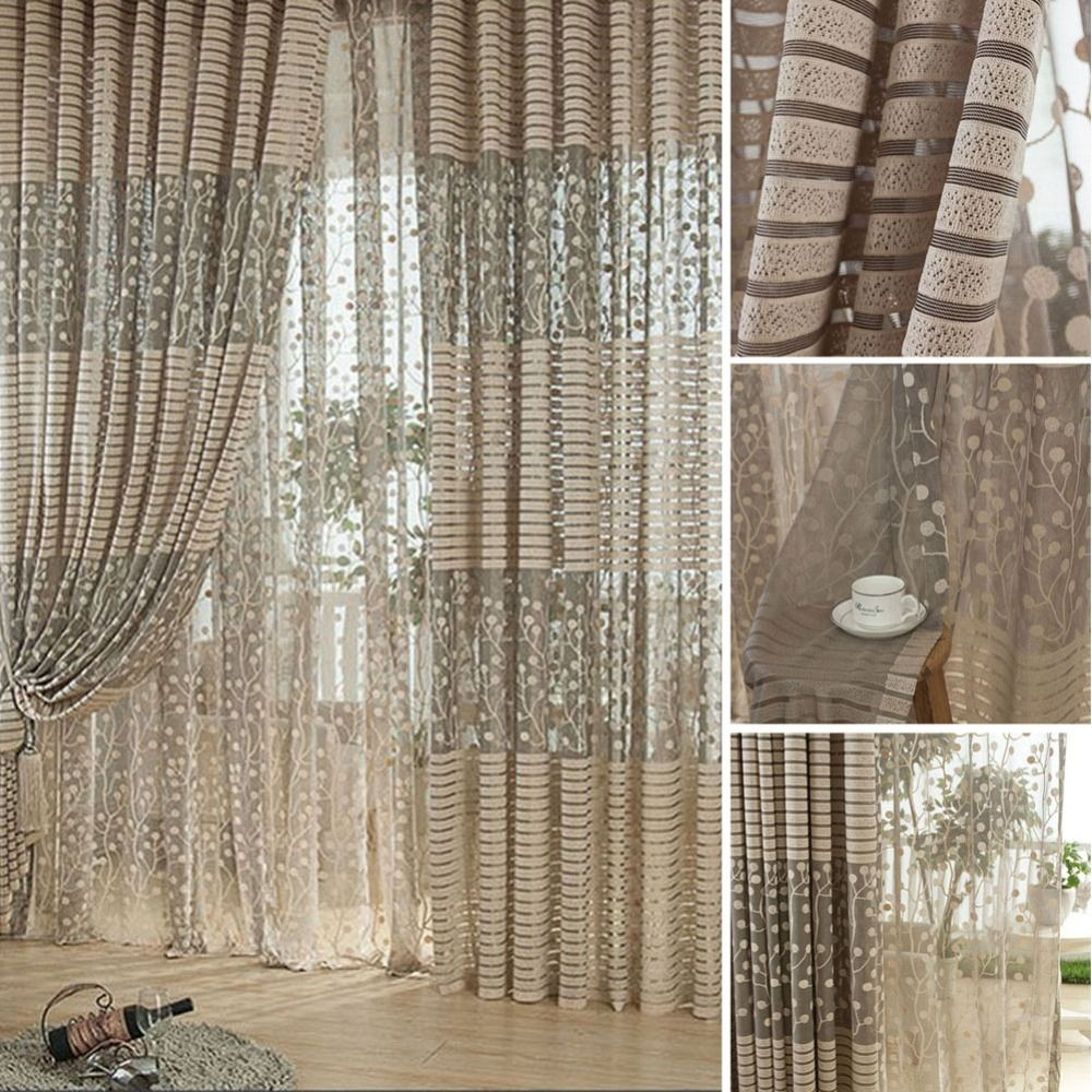 2017 Luxurious Balcony Drape Panel Sheer Curtain Tulle Door Window Scarf  Valances Living Room Curtain Part 53