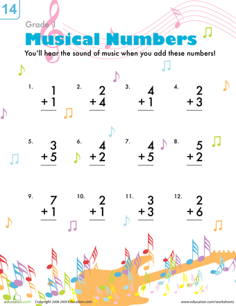 Worksheets Musical Addition Addition Worksheets Elementary Music Activities Basic Math Skills